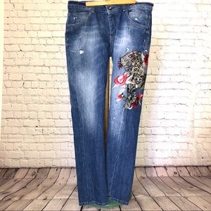 Guess embroidered tiger jeans size 31
